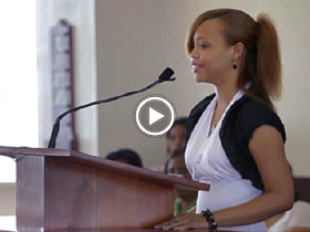 young woman speaking in church