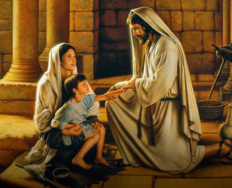 Savior talking to a woman with her son on her lap