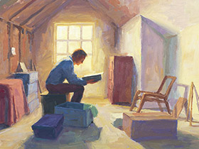 painting of a man reading in the attic