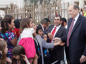 President Monson with members