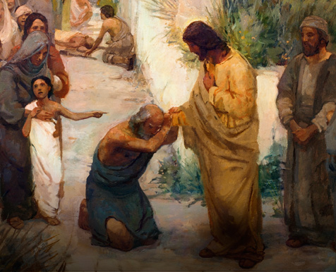 Painting of the Savior blessing a man on his knees