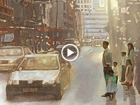 painting of a family walking on a street