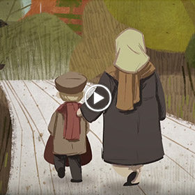 cartoon of mother and child walking