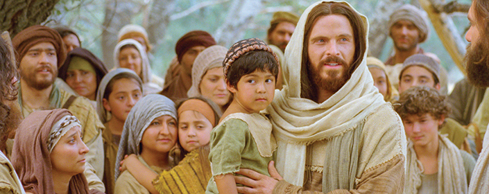The Savior in a crowd of people