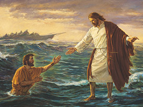painting of the Savior walking on water
