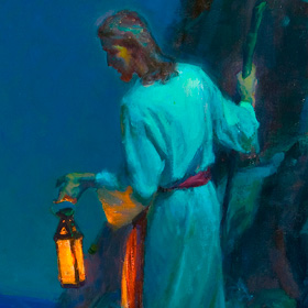painting of the Savior with a lantern