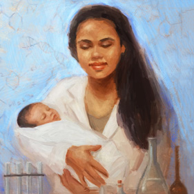 painting of a mother with her child