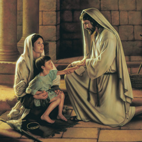 The Savior talking to a woman and child