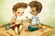 Two boys playing in a sandbox