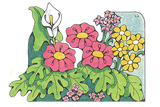Primary Cutout Illustration of Flowers