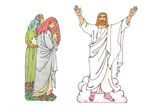 Primary Cutout Illustration Women and Resurrected Christ