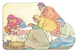 Illustration of Wrapping Jesus' Body