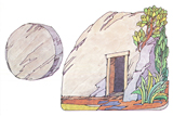 Primary Cutout Illustration Tomb and Stone