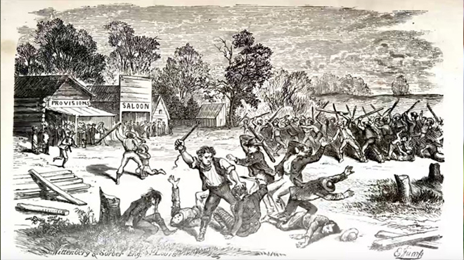 A black and white drawing of the Saints being driven out of Missouri in 1838