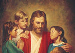 Jesus sitting with children surrounding him