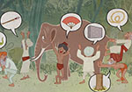 illustration of people and an elephant