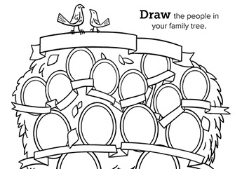 black and white family tree coloring page