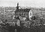 A black and white drawing of the Kirtland Temple.