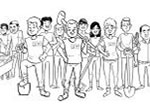 An image of a drawing of a group of people.