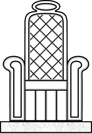 Simple line drawing of a throne.
