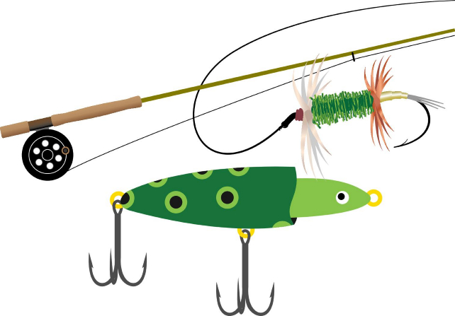 Drawing of a fishing pole and lure.