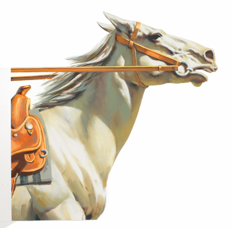 An illustration of a white horse fitted with a bridle and saddle.