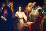 Jesus Christ as a child standing surrounded by doctors and learned men in the temple