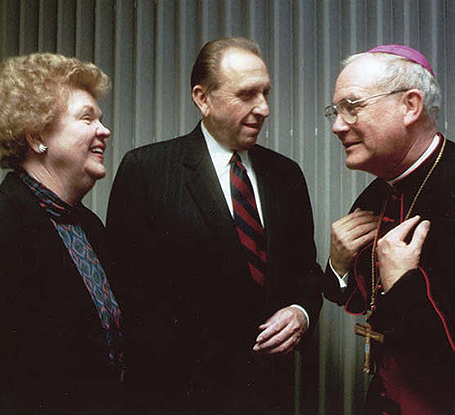 President thomas s monson president and sister monson meet with bishop george h niederauer of the catholic diocese of salt lake city at the cathedral of the madeleine m4hsunfo