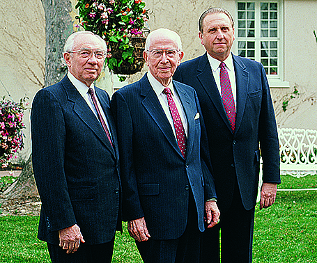 President Ezra Taft Benson With Counselors Gordon B Hinckley And Thomas S Monson In 1986
