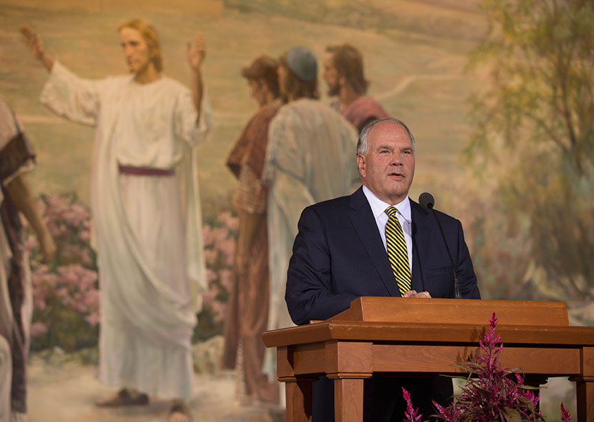 Elder Ronald A. Rasband talks to the media during a press conference following the afternoon session of the 185th Semiannual General Conference Saturday, October 3, 2015. Photo by Scott G Winterton, Deseret News.