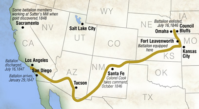 Map of the Mormon Battalion trek