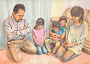 illustration of family praying