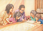 illustration of family studying scriptures