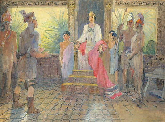 Amalikkja schmeichelt der Witwe des Königs. Sie wählt ihn zu ihrem Mann und macht ihn somit zum König aller Lamaniten (Gemälde von Minerva Teichert).