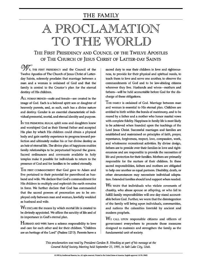 The Family: A Proclamation to the World - Ensign June 2006 - ensign