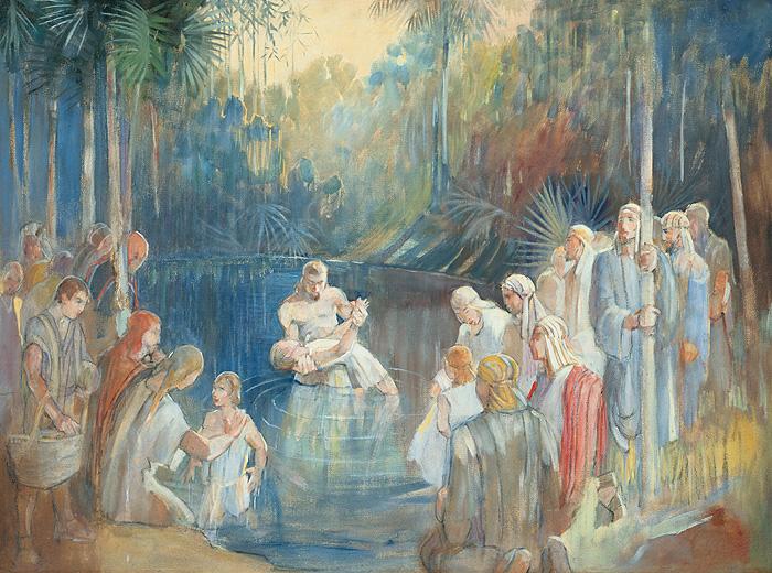 Alma Baptizing at the Waters of Mormon