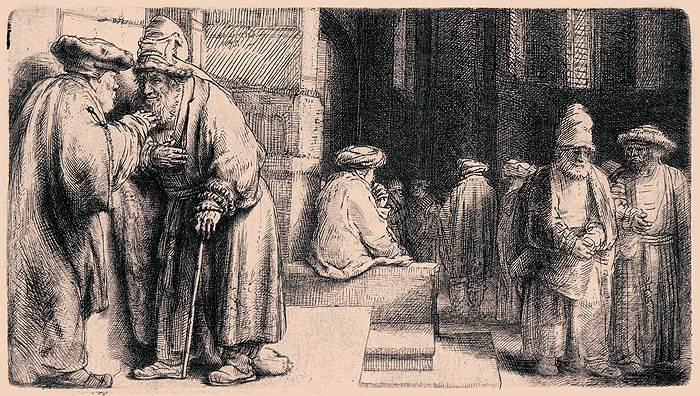 Judas, Pharisees in the Temple