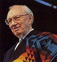 President Hinckley wears a colorful blanket given to him by Omaha Indians