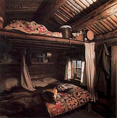 Log cabin interior