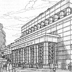 An artist's view of the new assembly building