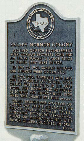 This historic marker stands near Kelsey, Texas