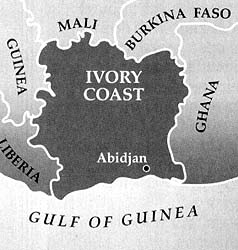 Map of the Ivory Coast