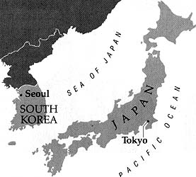 Map of Japan and South Korea