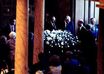 President Benson's brethren stand by as his casket is taken from the Tabernacle