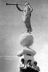 The statue of the angel Moroni, created by Cyrus Dallin, stands atop the capstone of the Salt Lake Temple heralding the restoration of the gospel.