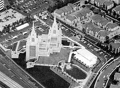 An aerial view of the San Diego California Temple