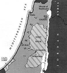 Map of Isreal and the West Bank