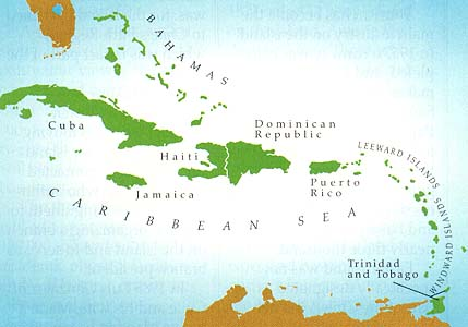 Map of the Caribbean area
