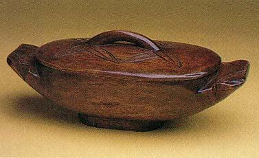 hand-carved Nigerian mahogany dish