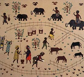 Picture cloth of African village